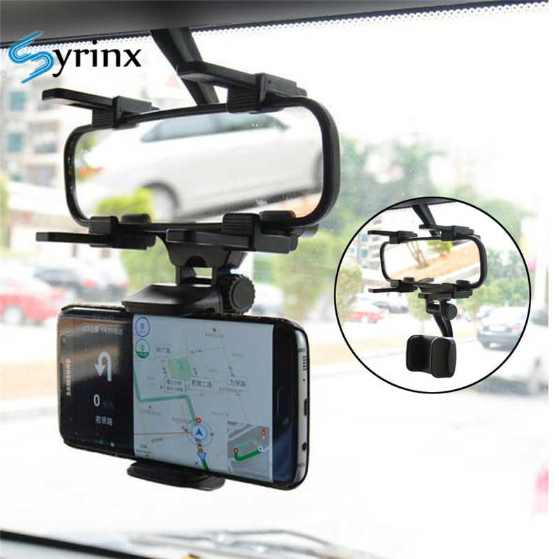 Syrinx 4-5.8 inch Car Rearview Mirror Phone Holder Mount Stand for iPhone XS X XR GPS Adjustable Smartphone Bracket Cell Support