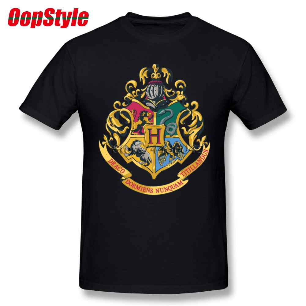 Hogwarts Alumni Magic School T-shirt For Men Short Sleeve Cotton Plus Size Custom Tee