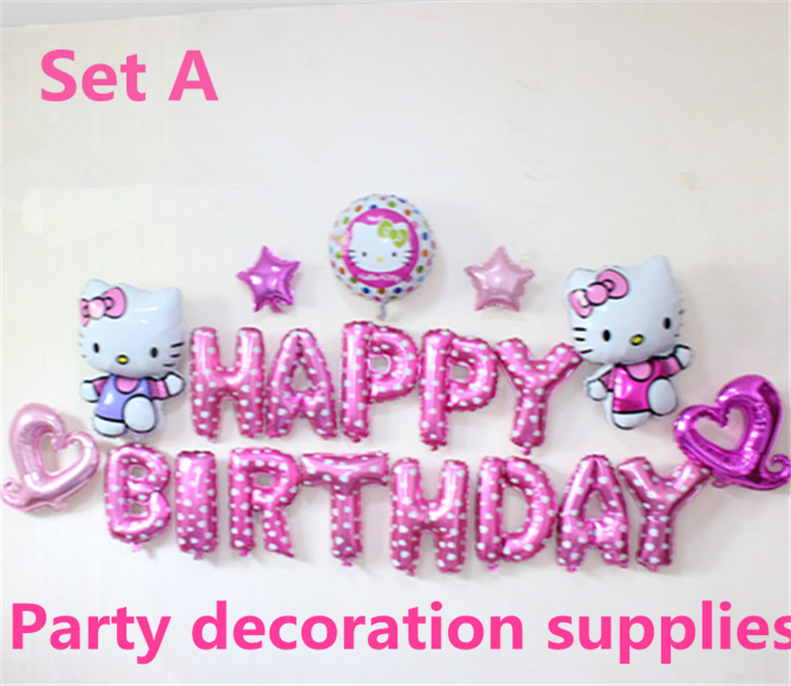 New design pink hello kitty theme baby girl party supplies decoratioin foil  globos 16 inch birthday letter pure birthday balloon fedcb912a1