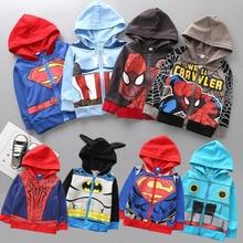 58925dd453683 EMS DHL Free shipping 2018 New Kids Children Superman Spiderman jacket  zipper Cap children s clothing