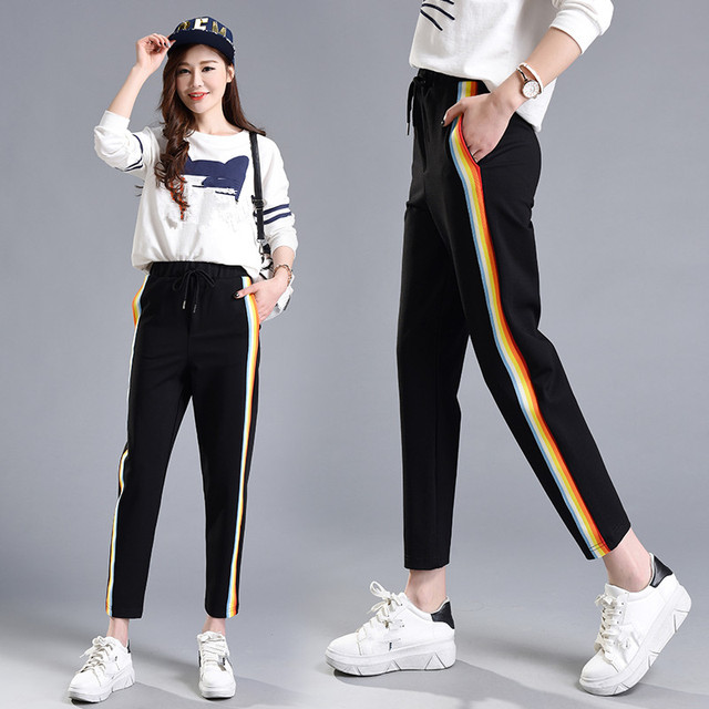 Spring  &Summer Women Casual Sweatpants Rainbow Striped Printed Side Pant Ladies Loose Trousers Joggers Sweat Pants Plus Size