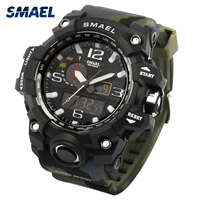 2017 SMAEL Luxury Brand Camouflage Militar Style S Shock Watch Men Analog Date Male Silicone Wristwatches