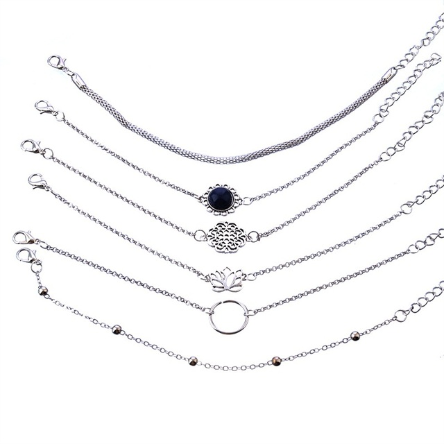 Lotus Bead Round Gem Chain Hollow Multilayer Silver Bracelet Set