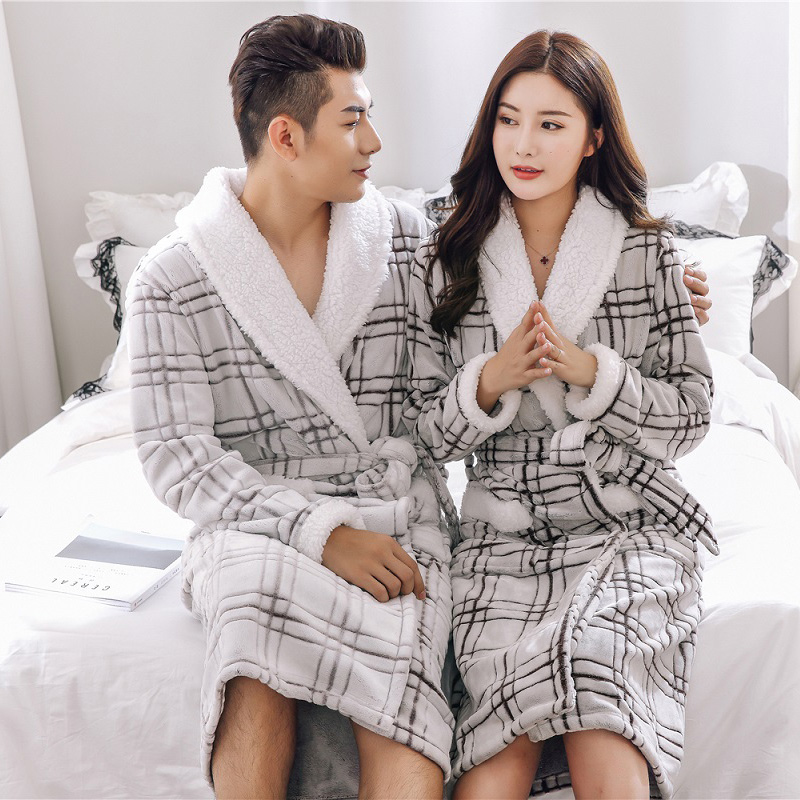 Men Warm Bathrobe Thicken Coral Flannel Bath Robe Female Autumn Winter Casual Wear  Long Robes Turn-down Collar Plaid Nightgowns