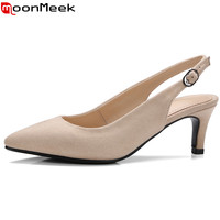 MoonMeek Faux Suede women pumps high quality pointed toe slingback with buckle summer ladies office lady dress shoes
