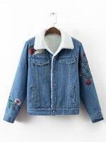 Fashion Vintage Lambs Wool Oversized Denim Jacket Winter Crane Embroidery Turn Down Collar Outerwear Thicken Women