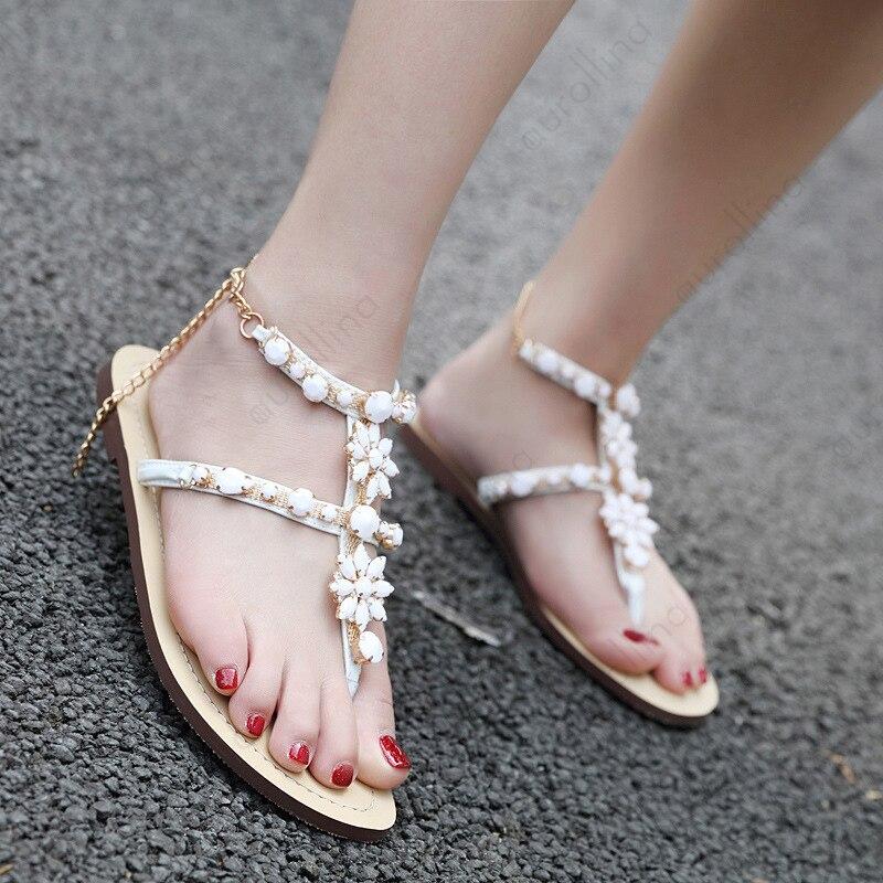 White Rhinestone Sexy Sandals Women Lovely Gladiator Sandal Summer Celebrity Shoes Female Flat Rome Stylish