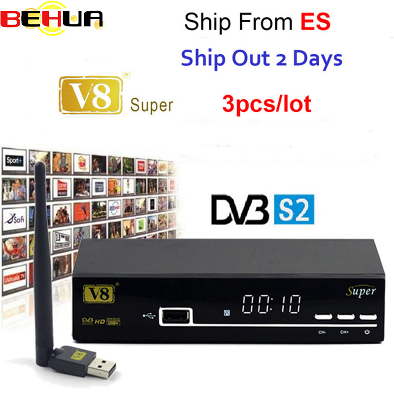цена на 3pcs V8 super DVB-S2 Satellite Receiver FTA HD 1080P internet sharing support clines/newcam/mgcam/biss key Recoder with USB WIFI