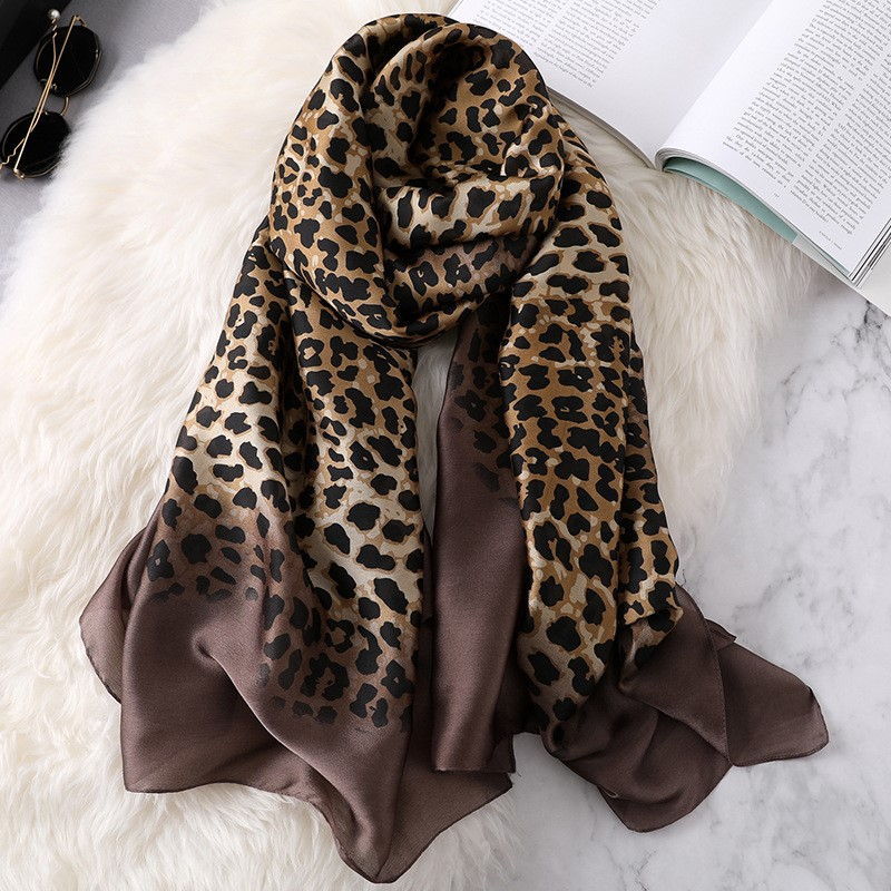 women silk   scarf   female classic Leopard   scarves   ladies beach   wrap   chiffon shawl soft sunscreen foulard muffler bandanna pareo