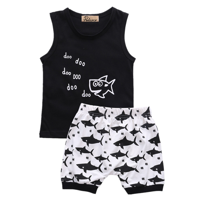 Newborn Infant Kids Baby Boys Clothes Summer Outfits Shark Tops T shirt  Shorts 2PCS Casual Clothes