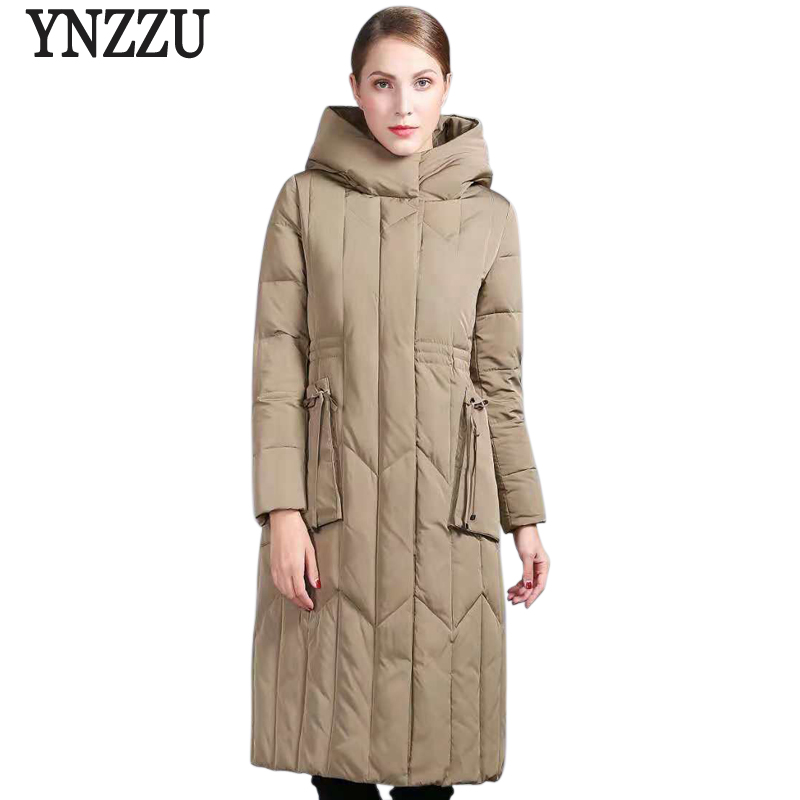 Luxury New Winter Women's   Down   Jacket Elegant Long 90% White Duck   Down     Coat   Woman Vintage Hooded Warm Outwears Plus Size AO794