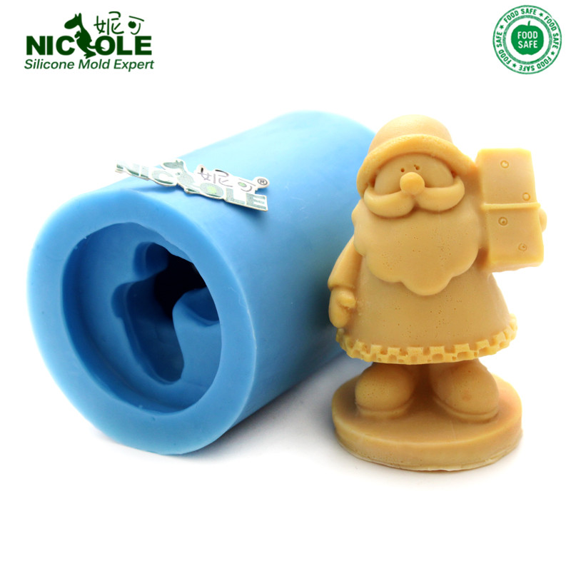 Gratis frakt Nicole 3D Fader Jul Santa Claus Såpemugg DIY Resin, Clay Håndverk Mold Jelly Pudding Mold, Chocolate Mold
