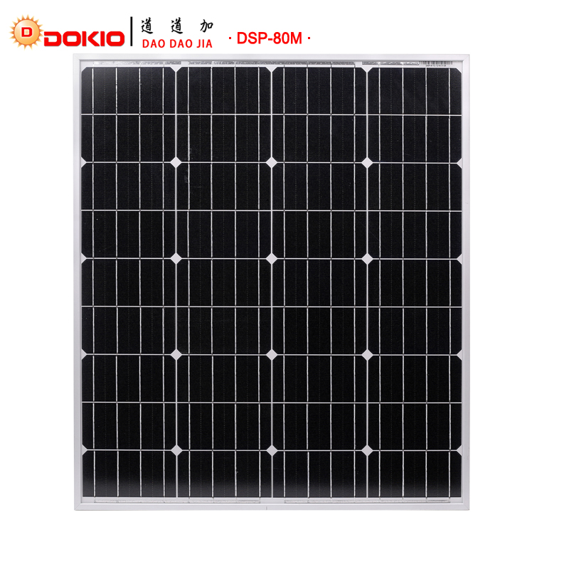 DOKIO Brand 80W 18 Volt Black Solar Panel China 10A 12 24 Volt Controller 80 Watt Panels Solar Cell Module System Home Boat in Solar Cells from Consumer Electronics