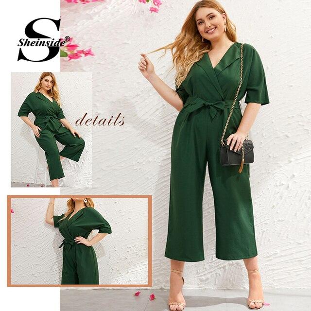 Sheinside Plus Size Green V Neck Wide Leg Jumpsuit Women 2019 Summer Zip Back Jumpsuits Office Ladies Solid Half Sleeve Jumpsuit 4