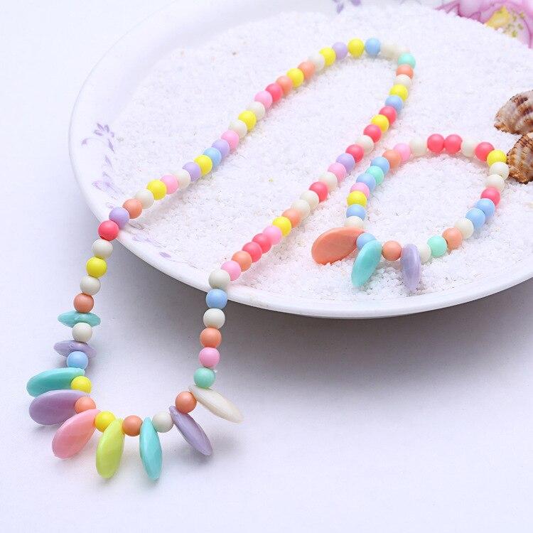 1 комплект, милые подарки для девочек, детские аксессуары для принцесс, наборы, разноцветные акриловые бусины, цветок, ожерелье и браслет - Цвет: 6