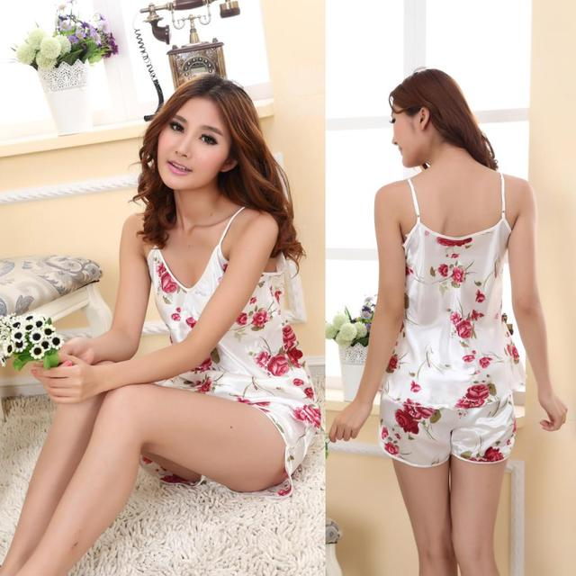 817d919f5c 2018 Cool Summer Sexy Nightwear Women Sleepwear Sets Print Spaghetti Strap+Shorts  Women Costume Sleepwear