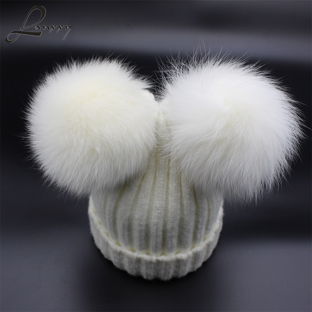 Lanxxy Real Fox Fur Pompom Hat Women Girls Winter Wool Hats for Women Cute Two Pom Poms Beanies Knitted Skullies Female Cap xthree winter wool knitted hat beanies real mink fur pom poms skullies hat for women girls hat feminino page 10