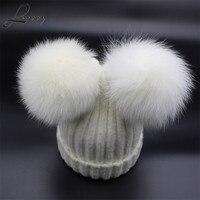 Lanxxy real Fox Pieles de animales pompom sombrero mujeres Niñas invierno lana sombreros para las mujeres lindo dos Pompones gorros skullies femenino cap