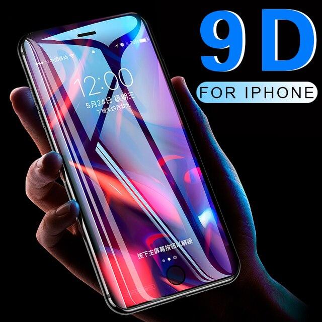 9D Full coverage ป้องกันกระจกสำหรับ iPhone 6 6S 7 8 PLUS X XR XS MAX บน iPhone 7 8 6 X XR XS MAX Temper