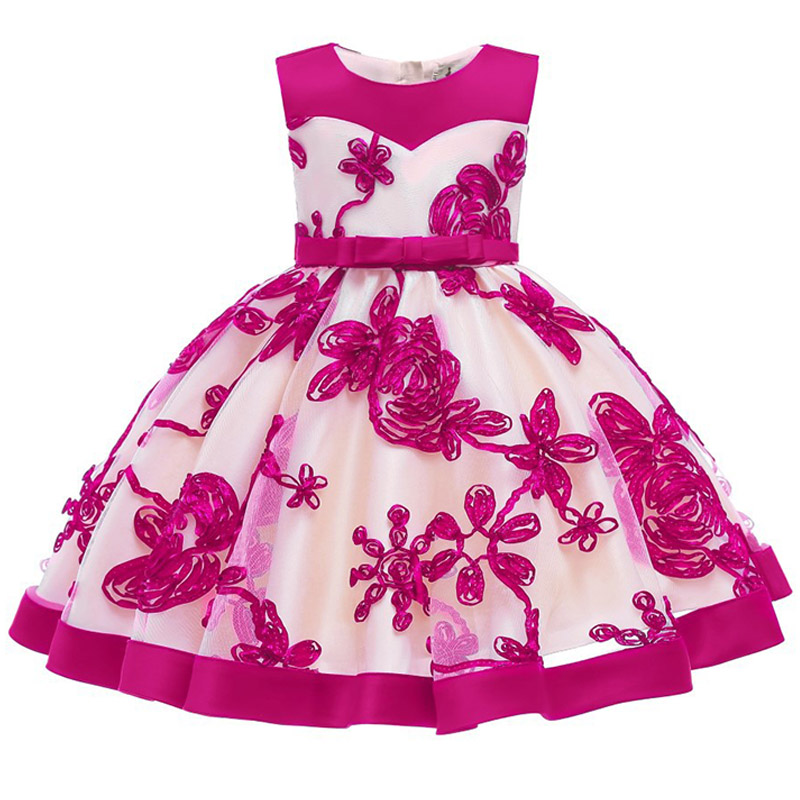 2019 Flower Embroidery Baby Girl Dress 3M-24M 1 Years Baby Girls Birthday Dresses Vestido Birthday Party Princess Dress(China)
