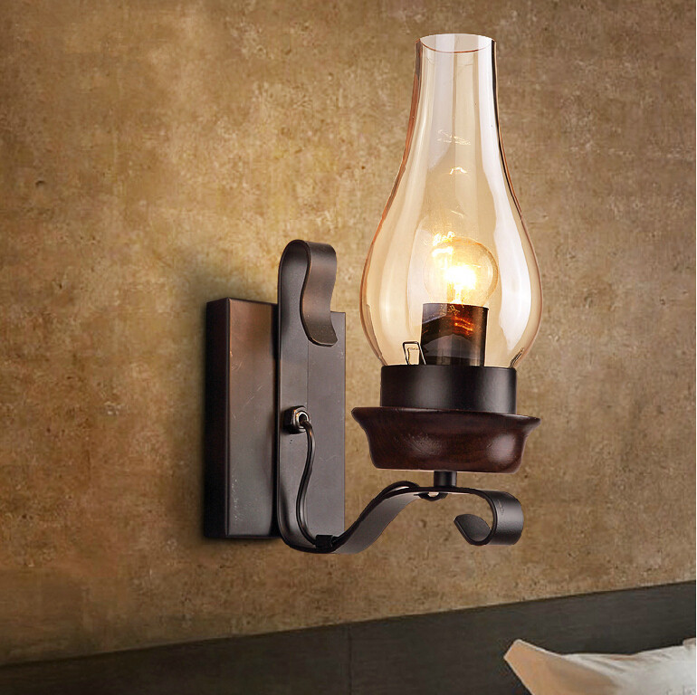 Antique Iron Rustic Sconce Industrial Wall Lamp Retro Metal Wall