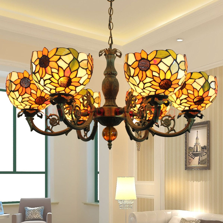 Tiffany sunflower Pendant lights Stained Glass Suspended Luminaire E27 110-240V Chain  for Home Parlor Dining Room hanging light tiffany baroque sunflower stained glass iron mermaid wall lamp indoor bedside lamps wall lights for home ac 110v 220v e27