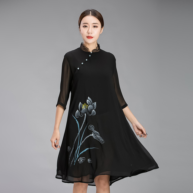 9b91df5b576 New2017Female Traditional Chinese Style Lotus Hand-painted dress Summer  chiffon Dress stand collar plus size vestidos 4XL XXXXXL