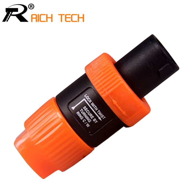 10pcs/lot Speaker 4Pin Plug Speaker Cable Connectors 4 Pole Plug Male Audio Speaker PLUG Connector R connector wholesale orange 10pcs wire cable audio speaker banana plug connectors 4mm adapter black