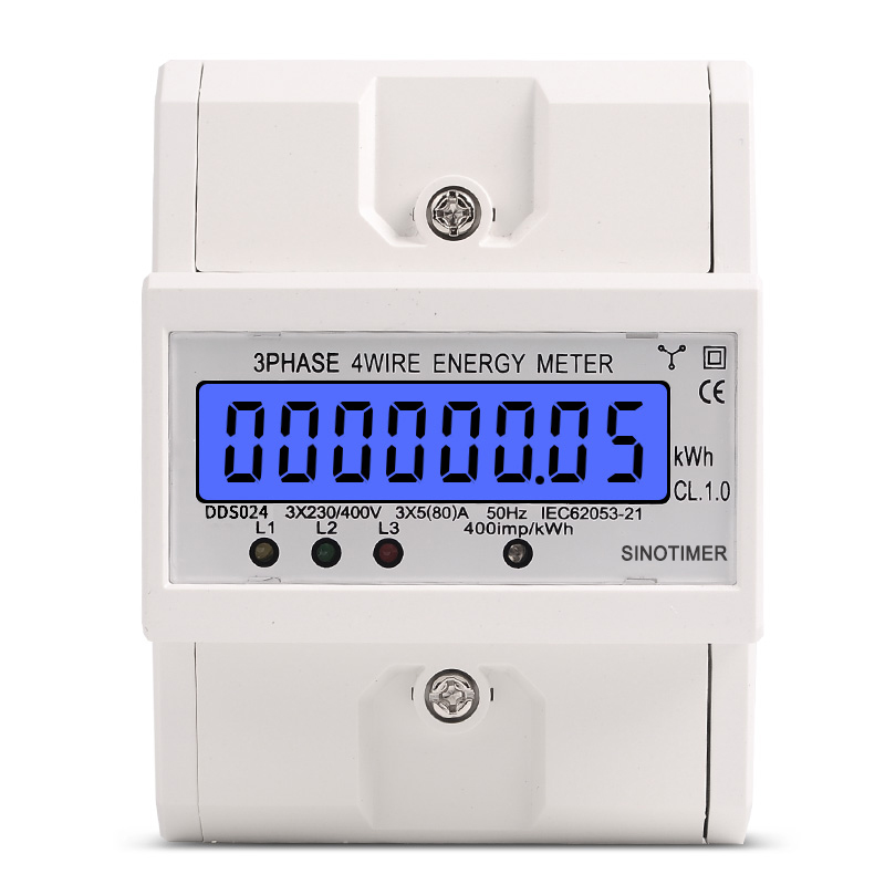 Din Rail 3 Phase 4 Wire Electronic Watt Power Consumption Energy Meter Wattmeter kWh 5 80A