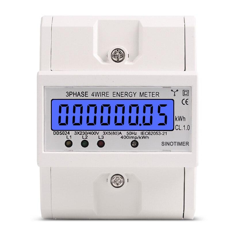 Guida Din 3 Fase 4 Fili Elettronico di Watt Consumo di energia kWh Energy Meter Wattmetro 5-80A 380 V AC 50Hz LCD Retroilluminato Display