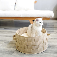 Pet Cat Bed Room Felt Nest Mini Dog Comfortable Breathable Cotton Cathouse Hand-woven Bubble Basket