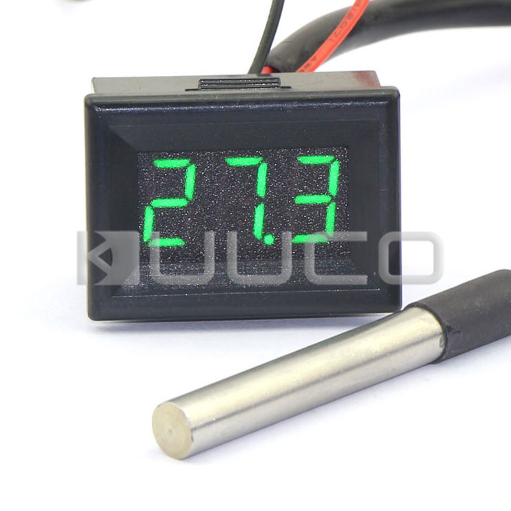 Digital Meter -55 ~125 Celsius Degree Green Led Digital Thermometer DC 12V 24V Temperature for Car/Water/Air/Indoor/Outdoor etc 55 125 celsius degrees red led digital car thermometer temperature meter ds18b20 sensor page 1