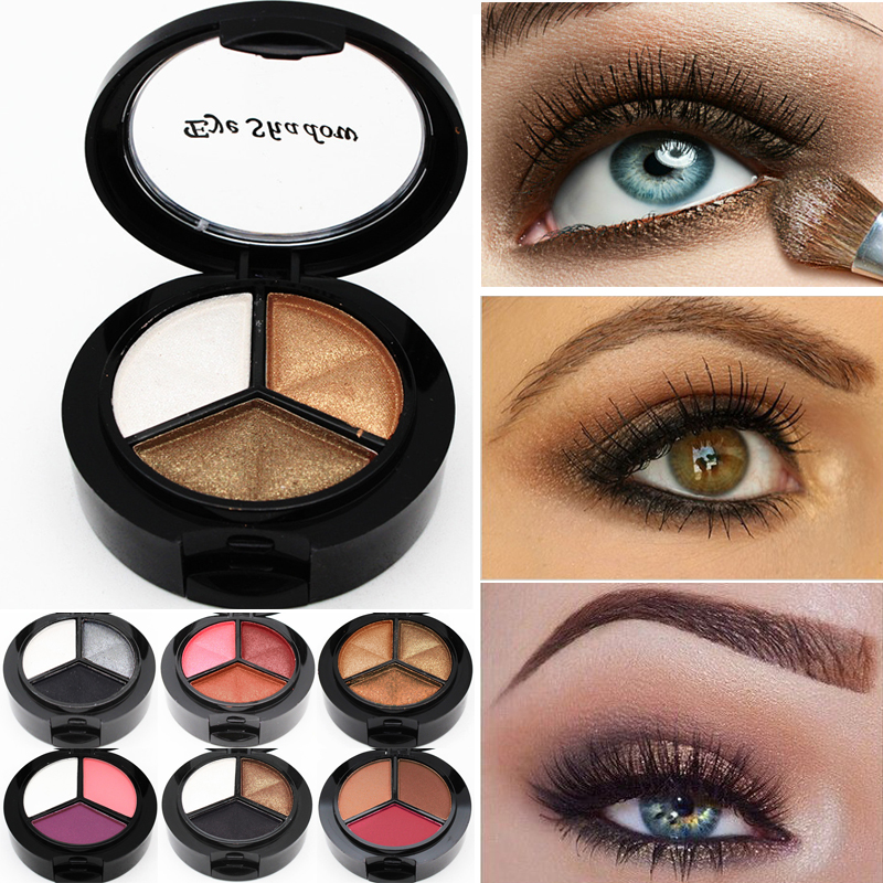 Dropshipping 3 Mixed Colors Women Comestic Eyeshadow Long Lasting Makeup font b Eye b font font