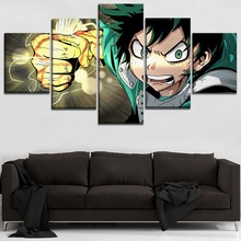 5 Panels Animation My Hero Academia Role Modular Picture Wall Art Canvas Print Painting Home Decor Boys Room Decoration