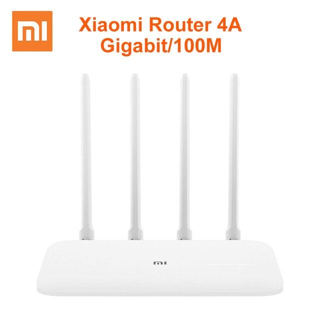 シャオ mi mi ルータ 4A ギガビットエディション 100 メートル 1000 メートル 2.4GHz 5 2.4ghz WiFi ROM 16 メガバイト DDR3 64 メガバイト 128 メガバイト高利得 4 アンテナリモート App コントロール