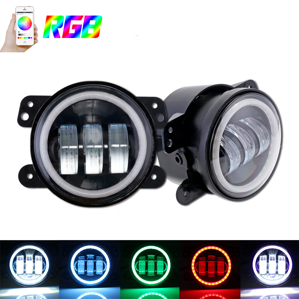 4 Round RGB LED Fog Lights DRL Angel Eye Halo Ring Bluetooth Phone Auto Car Light for Jeep Wrangler Off-road SUV юбка lerros 3726410 491