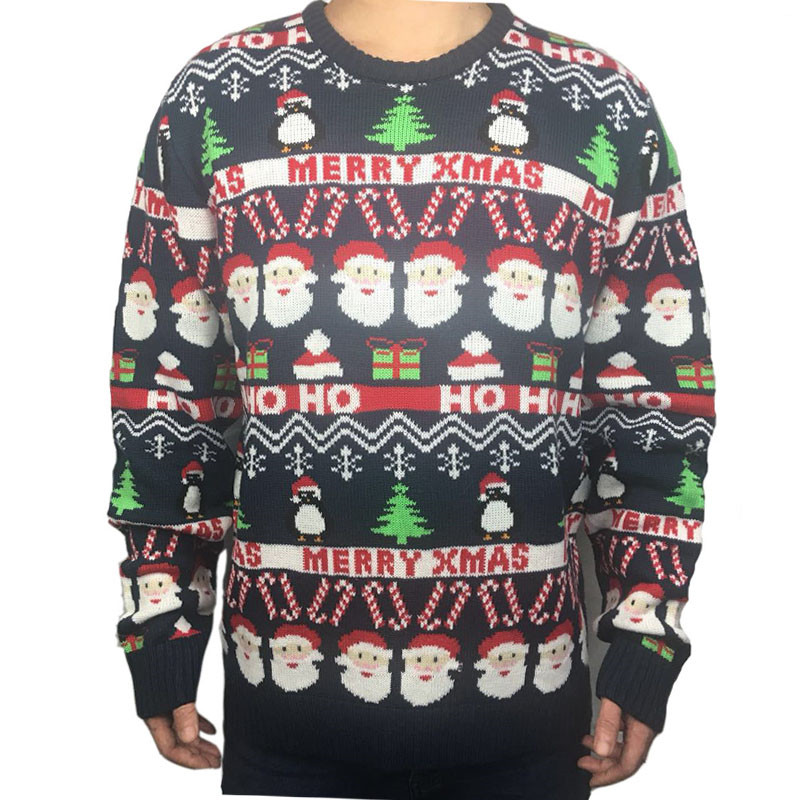 Funny Knitted Ugly Christmas Sweaters for Men and Women Cute Santa Claus Penguin Pattern Ugly Xmas Pullover Jumper Oversized 1