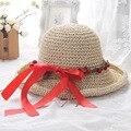 Chapéu de Praia verão Chapéu Senhora tecidos à mão borda cereja guirlanda ajustável Viseira Chapéu doce jardim
