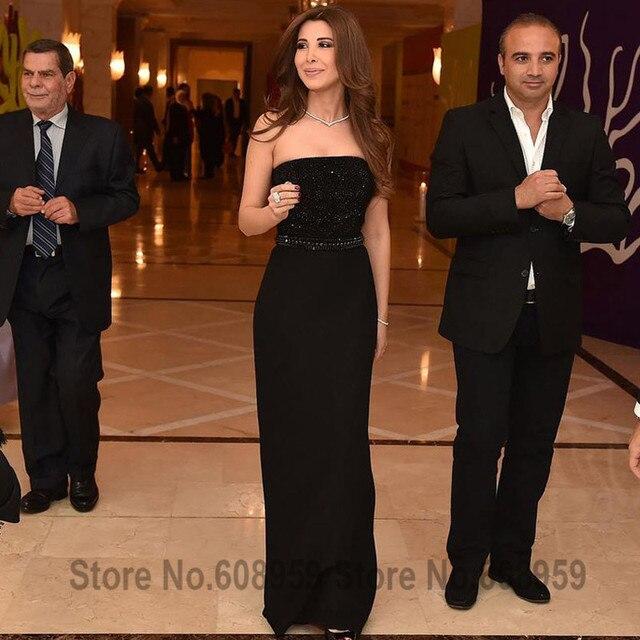 2017 Nancy Ajram Abaya Noir Celebrity Robes Perlé Paillettes Arabe Longue  Robe De Soirée Parti Rode