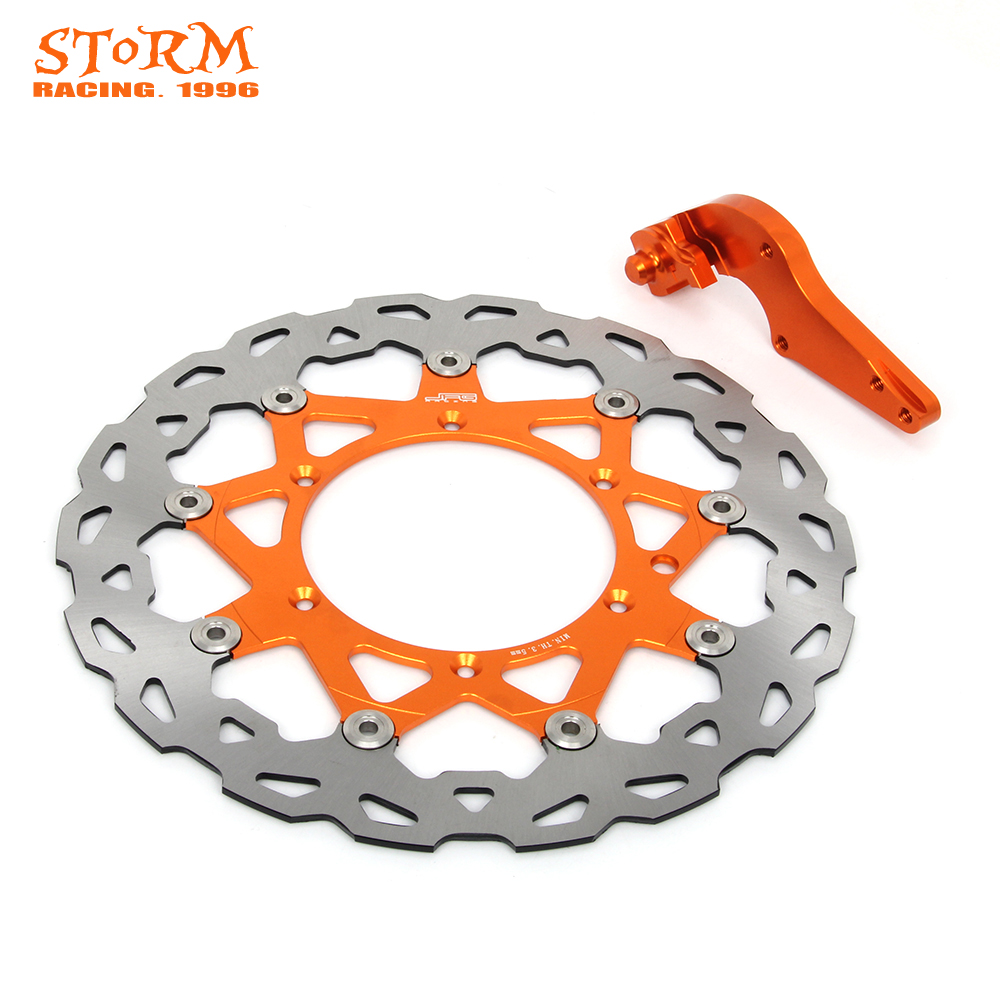 320MM Front Floating Brake Discs and Bracket For KTM SX XC XCW XCFW EXC 125 144 150 200 250 300 350 400 450 500 505 530 SXF125 motorcycle front and rear brake pads for ktm egs lse exc 400 all models 1998 2006 black brake disc pad