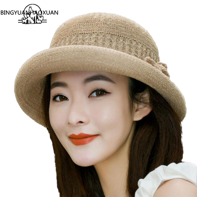 BINGYUANHAOXUAN New Spring Summer Hats For Women Curling Bow England Jazz Panama Hat Cap Feminino Sun Visor Beach Hat Cappello