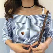 Primavera otoño bordado ropa palabra propagación de manga larga rayas  impresas fuera del hombro Slash cuello blusa 6d5332b2ad42