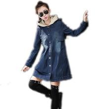 2016 New Women Long Denim Jacket Spring Autumn Korean Slim Hooded Jacket Loose Big Yards Long Sleeve Casual Windbreaker Coat 068