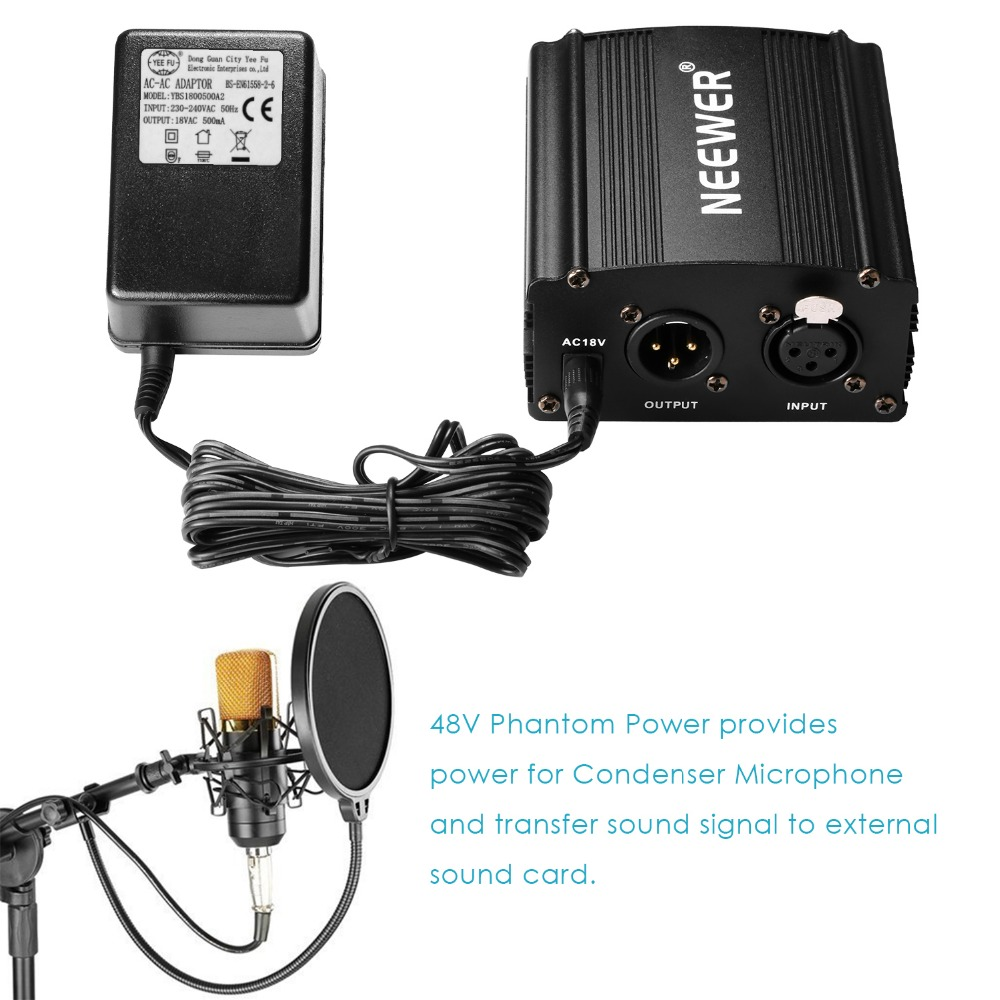 все цены на Neewer 1- Channel 48V Phantom Power Supply Black with Adapter and One XLR Audio Cable for Any Condenser Microphone Music