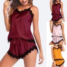 Women Bow Sleepwear Sleeveless Strap Nightwear Lace Trim Satin Cami Top Pajama Sets pyjamas women sexy