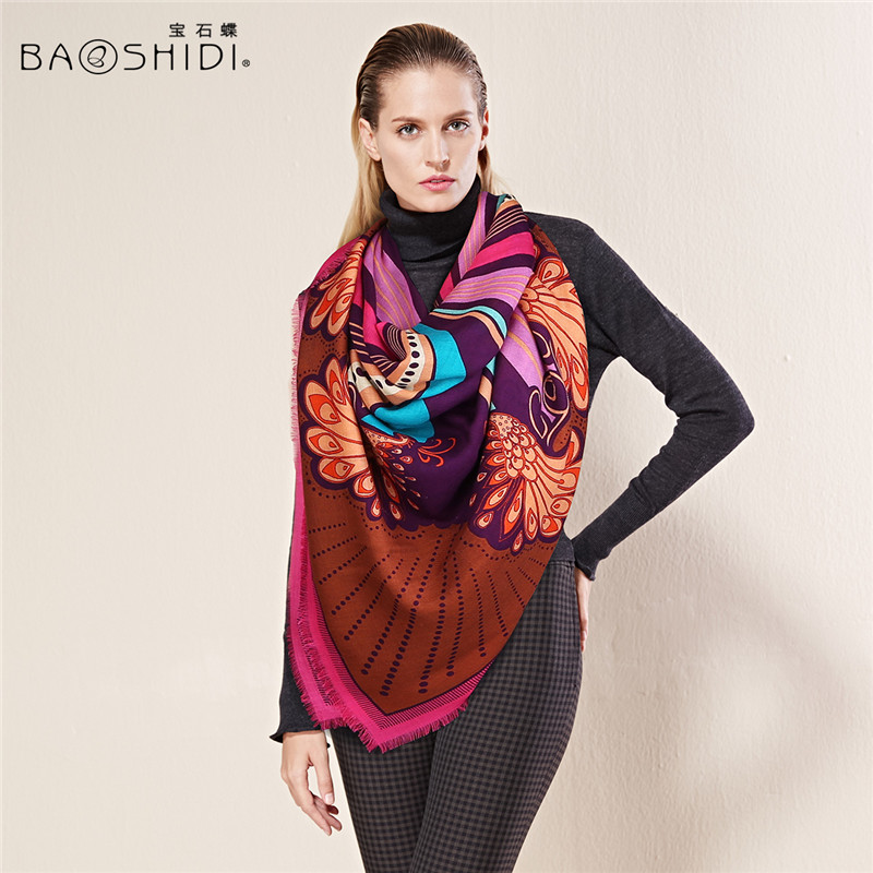 BAOSHIDI Luxury brand scarfs fashionable Autumn winter 100 Wool Scarf Elegant Women gifts Winter scarves