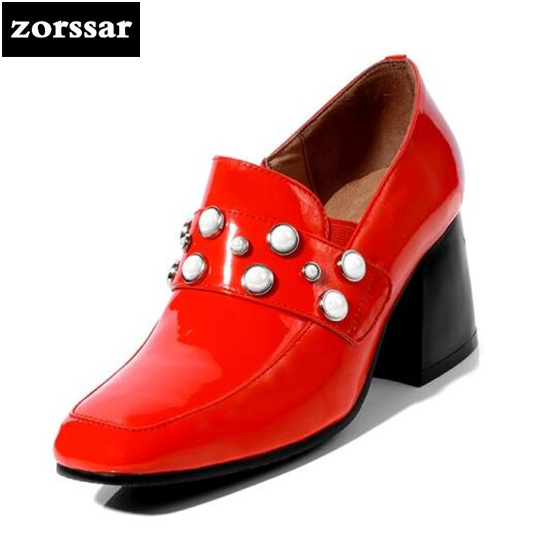 {Zorssar} 2018 New arrival Patent leather fashion pearl ladies shoes heels Square toe thick heel pumps women High heels shoes bacia women shoes black patent leather ladies high heels shoes with bowknot thick heel pumps genuine leather lady shoes sb075
