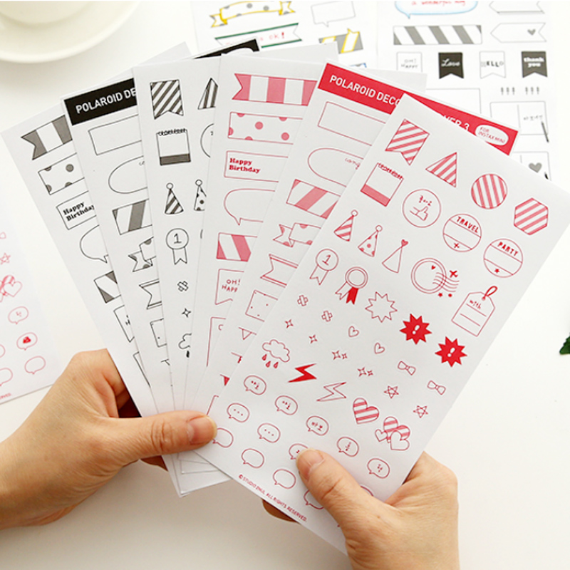 6 Pcs/bag Dialog Box Decoration Paper Sticker Diy Decoration Sticker For Album Scrapbooking Diary Kawaii Stationery 02