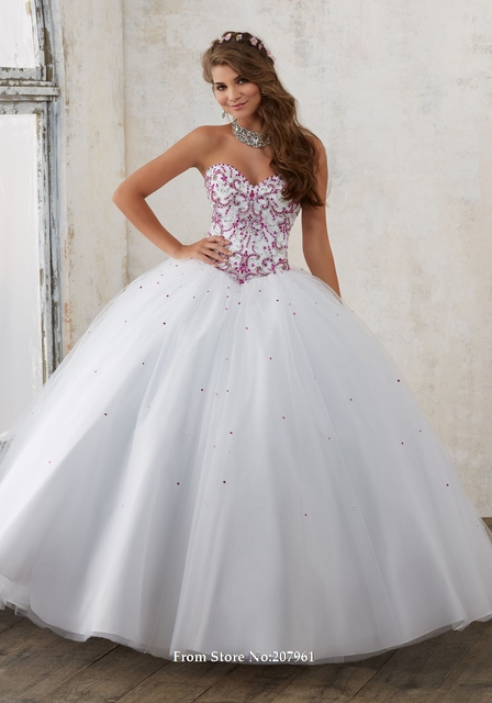 21db66eb81 White Pink Ball Gown Quinceanera Dresses Tulle Beads White Blue Debutante  Dresses Free Jacket Prom Dress Vestidos De