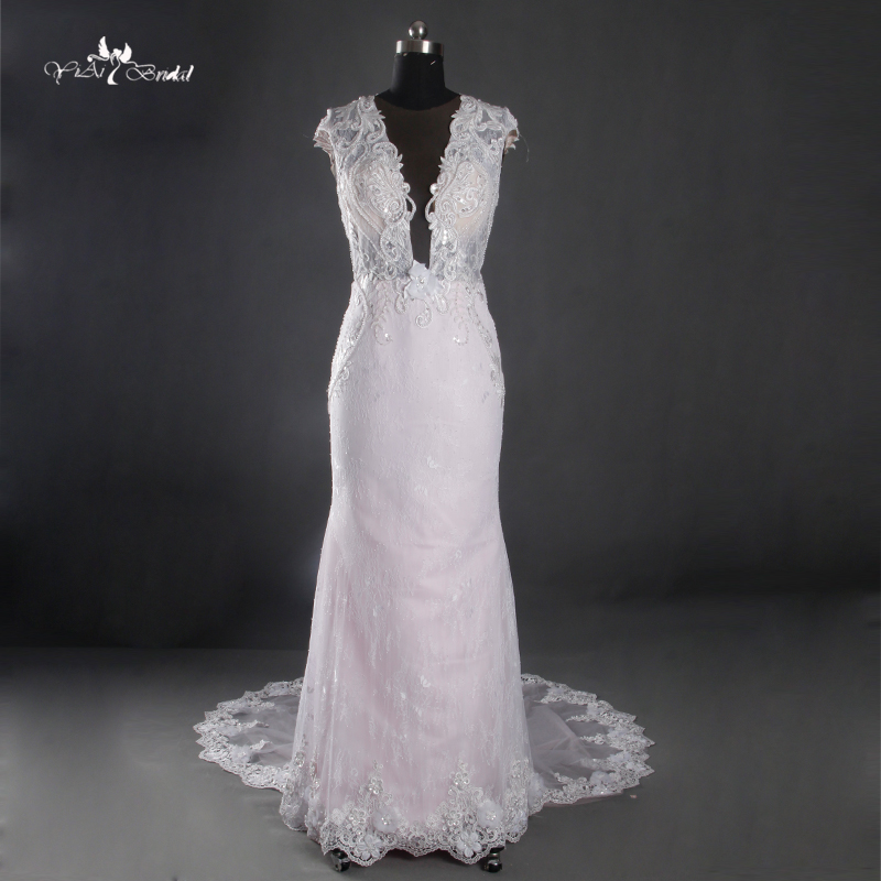 Pink Wedding Dresses For Sale Online: Hot Sale Pink Sheath Wedding Dresses Sexy See Through Back